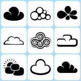 Geplaatste wolkenpictogrammen Royalty-vrije Illustratie