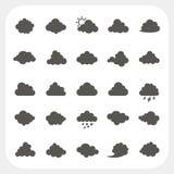 Geplaatste wolkenpictogrammen Stock Foto's