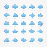 Geplaatste wolkenpictogrammen Stock Foto
