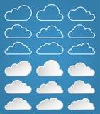 Geplaatste wolkenpictogrammen Royalty-vrije Stock Foto