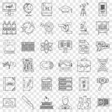 Geplaatste woordenboek de pictogrammen, schetsen stijl stock illustratie