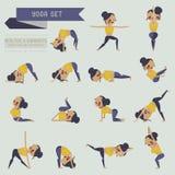 Geplaatste yoga en grafische informatie Stock Afbeeldingen
