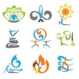 Geplaatste yogaemblemen stock illustratie