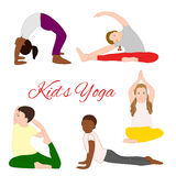 Geplaatste yogajonge geitjes Gymnastiek voor kinderen Stock Afbeelding