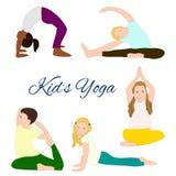 Geplaatste yogajonge geitjes Gymnastiek voor kinderen Royalty-vrije Stock Afbeelding