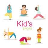 Geplaatste yogajonge geitjes Gymnastiek voor kinderen en gezonde levensstijl stock illustratie