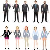 Geplaatste zakenman en Onderneemsters, Multiraciale Uitvoerende Manager - Vectorillustratie royalty-vrije illustratie