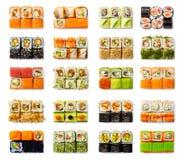 Geplaatste zeevruchten - geïsoleerde broodjes op witte achtergrond Stock Afbeeldingen