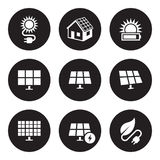 Geplaatste zonne-energiepictogrammen stock illustratie