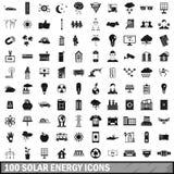100 geplaatste zonne-energiepictogrammen, eenvoudige stijl vector illustratie