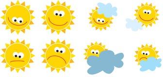 Geplaatste zonnen Stock Foto's