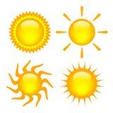 Geplaatste zonnen Royalty-vrije Stock Foto's