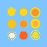 Geplaatste zonnen Stock Illustratie