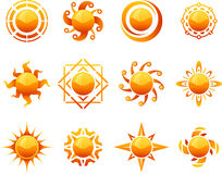 Geplaatste zonpictogrammen Stock Afbeelding