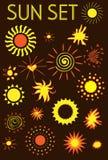 geplaatste zonpictogrammen, ontwerpelementen Royalty-vrije Stock Fotografie