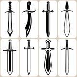 Geplaatste zwaardpictogrammen Royalty-vrije Stock Afbeelding