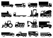 Geplaatste zware voertuigenpictogrammen Stock Foto's