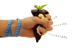 Geplette cake. Het concept van het dieet. royalty-vrije stock afbeeldingen