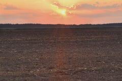 Geploegd gebied bij dageraad Stock Foto's