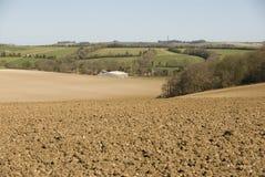 Geploegd gebied in landelijk Berkshire, het UK Royalty-vrije Stock Afbeeldingen