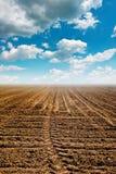 Geploegd land Stock Afbeelding