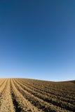Geploegde gebieds blauwe hemel Stock Foto