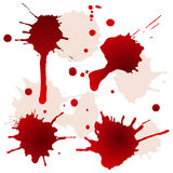 Geploeterde bloedvlekken Stock Foto's