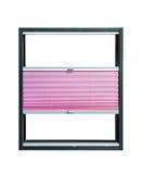 Geplooide gedeeltelijk geopend blinden - roze kleur Royalty-vrije Stock Foto's