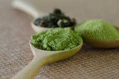 Gepoederde matcha groene thee Stock Afbeeldingen