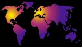 Gepolariseerde wereldkaart stock illustratie