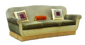 Gepolsterte Couch des Dreisitzers grüner Samt Lizenzfreies Stockbild
