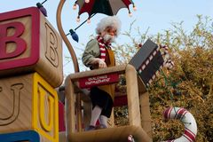 Geppetto rides on a float in Disneyland Parade Stock Photos