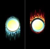 Gepresste und ungepresste Feuereiszapfentaste Stockbilder