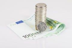 Gepresster Euro des russischen Rubels Lizenzfreie Stockfotografie