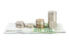 Gepresster Euro des russischen Rubels Lizenzfreies Stockfoto