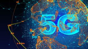 Geproduceerde computer, 5G de animatie van de connectiviteitstechnologie stock illustratie