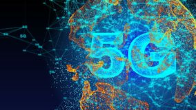 Geproduceerde computer, 5G de animatie van de connectiviteitstechnologie royalty-vrije illustratie