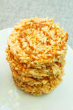 Gepufte rijst met suiker, Thaise snack royalty-vrije stock fotografie