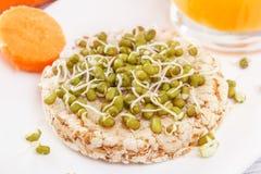 Gepufte tarwecake en ontsproten korrels, wortelen en vers sap Nuttig ontbijt van natuurlijke producten stock foto's