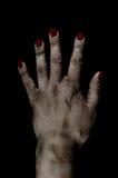 Gequetschte tote weibliche Handfoto-Handhabung Lizenzfreie Stockbilder