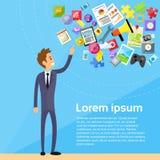 Gerät Geschäftsmann-Point Finger Hands Digital Lizenzfreie Stockfotos