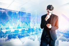 Gerät-, Technologie- und Finanzkonzept lizenzfreies stockbild