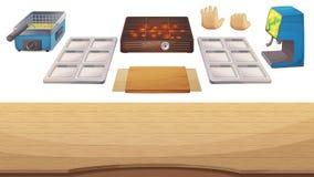 Geräte für das Kochen des Spiels: Holztisch, Grill, Fritteuse, metallischer Halter, Platte, Sodazufuhr, Hände Stockbilder