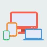 Geräte für entgegenkommendes Webdesign Flache Art Stockfotografie