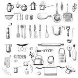 Geräte und Lebensmittelhand gezeichnet lizenzfreie abbildung