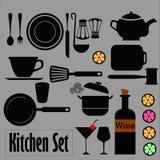 Geräte und Lebensmittelhand gezeichnet Lizenzfreie Stockbilder