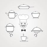 Geräte und Lebensmittelhand gezeichnet Stockfotografie