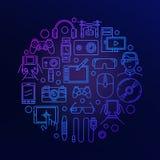 Geräte und rundes Zeichen der Elektronik vektor abbildung