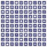 100 Geräteikonen stellten Schmutzsaphir ein Lizenzfreie Stockfotografie