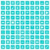 100 Gerätikonen stellten Schmutz blau ein Lizenzfreie Stockfotos
